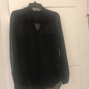 Black Sheer Buttoned Down Shirt